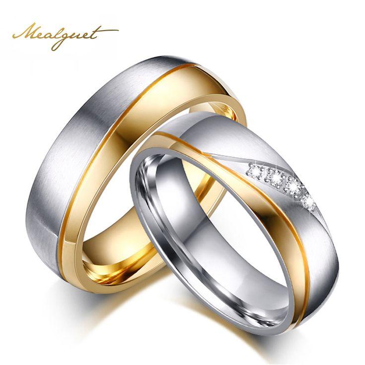 Meaeguet anillos de boda para las mujeres de los hombres anillos de acero inoxidable de color oro para la fiesta de compromiso alianzas de boda joyería