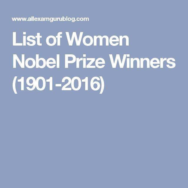 List of Women Nobel Prize Winners (1901-2016)
