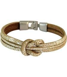 Buy Men Multi-strand Leather Bracelet Gold color for Everyday wear Bracelet online
