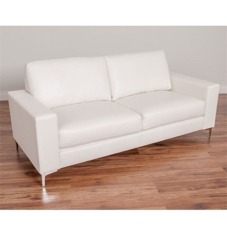 CorLiving Cory Contemporary Leather Sofa in White #Sonax