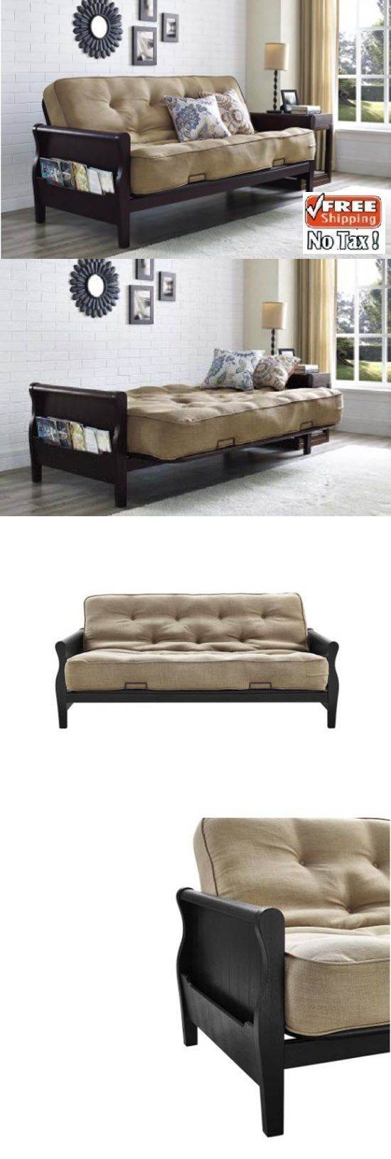Futons Frames and Covers 131579: Futon Sofa Bed Mattress Frame Included Bedroom Furniture Dorm Living Room Guest -> BUY IT NOW ONLY: $379 on eBay!