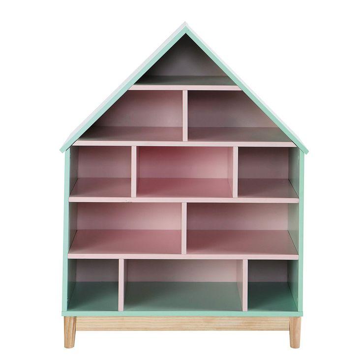 Bücherregal Haus für Kinder, Grün und Rosa | Maisons du Monde