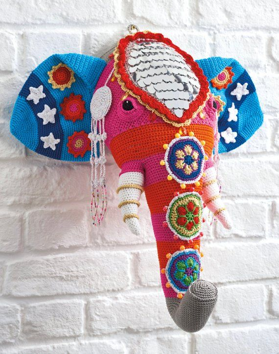 Faux Taxidermy Crochet Pattern Crochet Elephant Crochet Olifant
