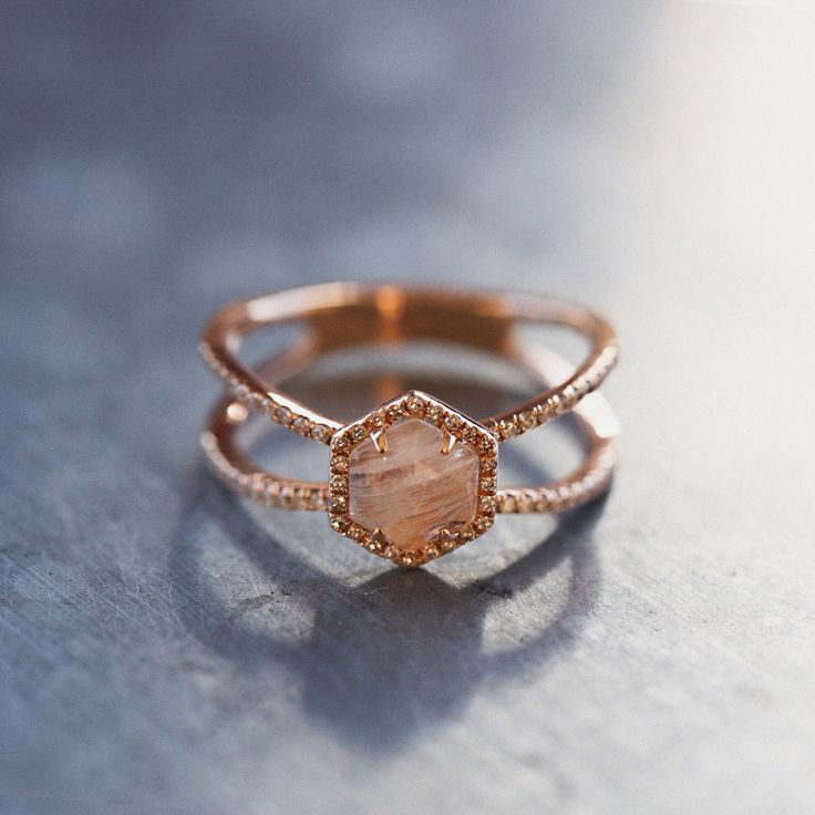 http://rubies.work/0541-sapphire-ring/ 14kt gold and diamond Double Band Moonstone Hex ring – Luna Skye by Samantha Conn