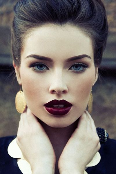 DANG this girl is breaking it down. I love her Merlot toned lipstick and defined brows....:
