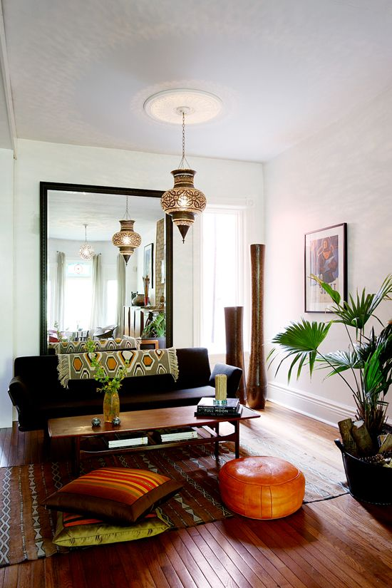 throw over black sofa // Earthy and warm. Green and Golden-Orange-Brown and Black.