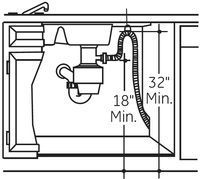 The most common dishwasher installation defect -- trap & high loop with measurements.