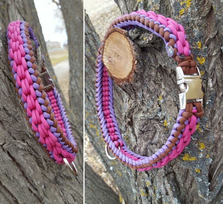 Rope Dog Collar 550 Paracord Sanctified Weave 550 Paracord Purple Pink & Brown by BrodsParacord on Etsy