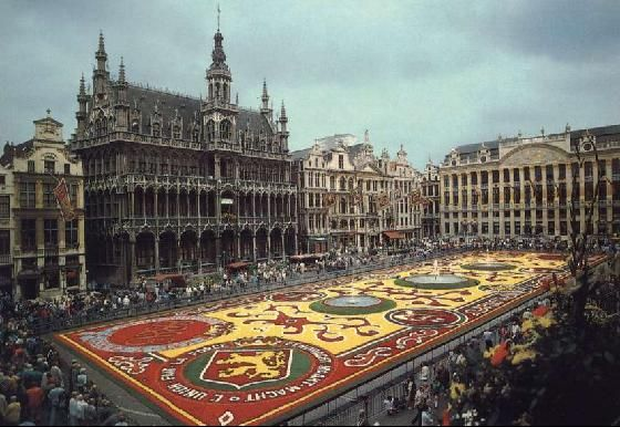 """Brussels. Every two years the Grand Place in the center of Brussels is the location of the """"Flower Carpet"""". During the third week of August every even year, begonia cultivators from Ghent decorate here according to a theme. The famous Carpet of Flowers covers 300 m² right in the center of the Grand Place."""