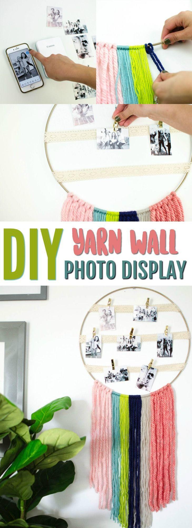 DIY Yarn Wall Hanging Photo Display – #Display #DI…