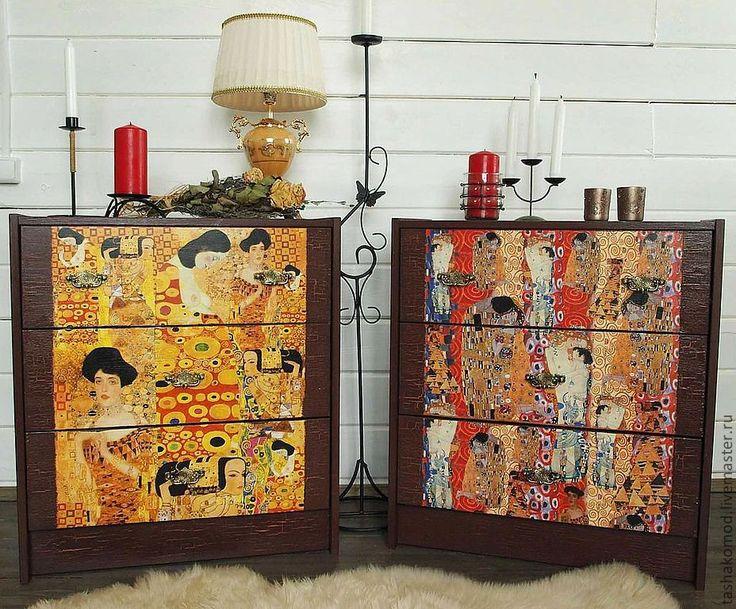 """Купить """"Климт, здравствуйте!"""" Комплект прикроватных тумбочек-комодов (2шт) - Мебель, комод, Климт"""