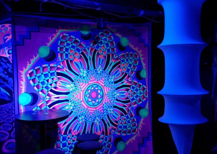 UV Banner Nonogram Wandbehang 2m x 2m Hippie Goa Tuch Kunst Psy Trance DJ