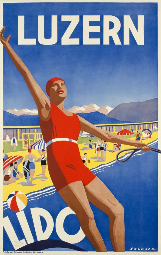 Luzern, Lido by Solbach / 1930. Water-skiing at the Lido in Luzern in Switzerland. A great Art Deco poster.