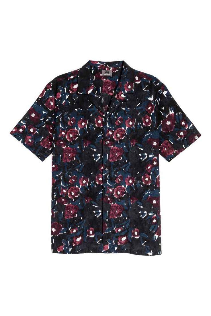 Casual overhemd - Donkerblauw/bordeauxrood - HEREN | H&M NL