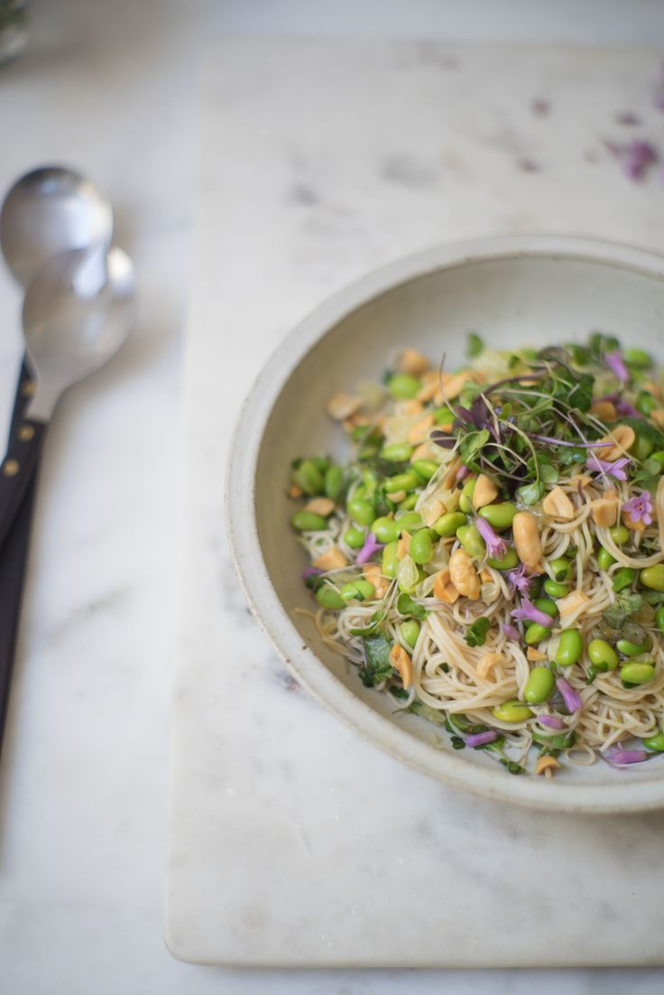 Pomelo Noodles Recipe - Being nice to your future self & and simple lunch salad made with noodles, edamame, greens, ponzu dressing, peanuts, and pomelo. - from 101Cookbooks.com