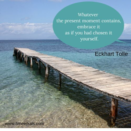 Whatever the present moment contains, embrace it as if you had chosen it yourself. Echart Tolle