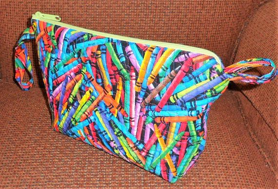Handcrafted One Of A Kind Quilted Wedge Zippered Cosmetic