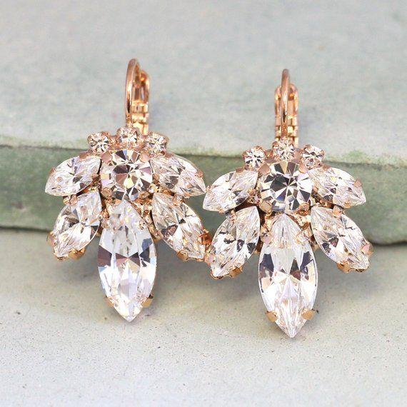 Bridal Earrings Bridal Drop Earrings Crystal Drop Earrings Swarovski Crystal Drop Earrings Rose Gold Rose Gold Drop Earrings Swarovski Crystal Earrings Bridal Earrings