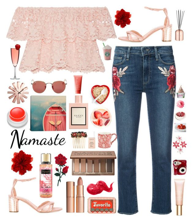 """""""Rose Gold and Roses"""" by macarons-and-mermaids ❤ liked on Polyvore featuring Paige Denim, Miguelina, Casadei, Gucci, Victoria's Secret, Charlotte Tilbury, Claus Porto, Bobbi Brown Cosmetics, Urban Decay and Dolce&Gabbana"""