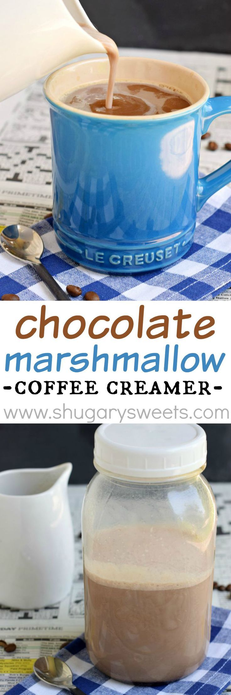This easy, 4 ingredient Chocolate Marshmallow Coffee Creamer adds depth of flavor to your morning cup of joe! Also great in hot cocoa!