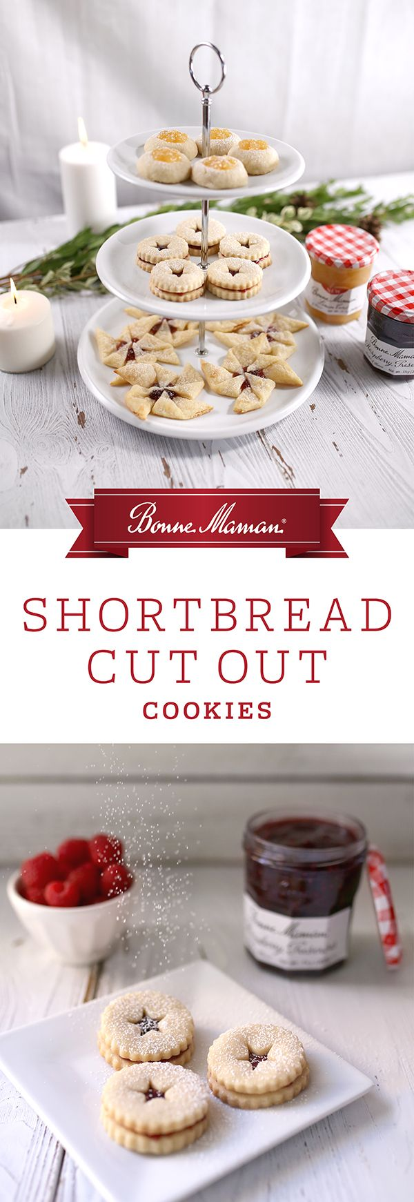 Shortbread Cut Out Cookies- Inspired by the traditional Austrian Linzer Cookie but without the nuts, these cookies are filled with a layer of our Bonne Maman Raspberry Preserves and dusted to perfection with confectioner's sugar. Put your cookie cutters to use this holiday season with this simple, easy to make recipe that�s fun for the whole family.