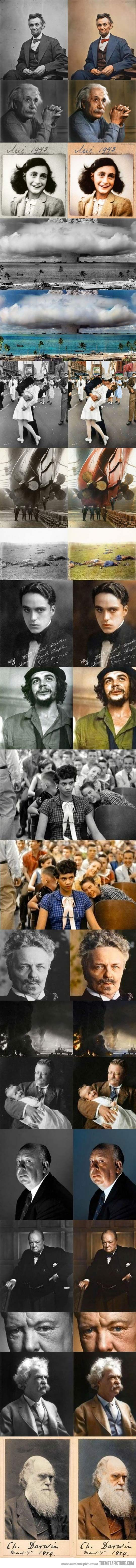 Adding Color To Iconic Photos. This really makes an impact.