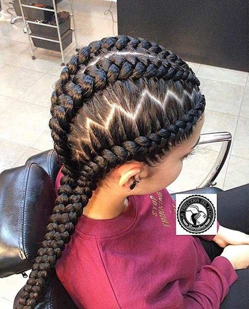 Ghana Braids with a Zig-Zag Parting