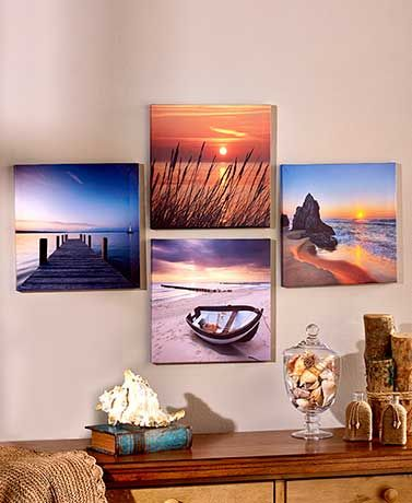 Looking for some wall art? Create a striking focal point with this 4 Piece Canvas Wall Art Set, all wrapped around individual wood frames. Awesome for living room decor