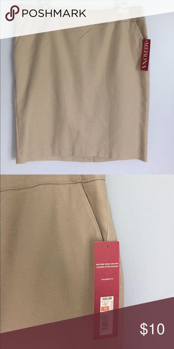 Pencil skirt NWT! Classic tan pencil skirt Merona Skirts Pencil