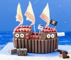 Pirate Cake: This pirate ship cake with ALLEN'S JAFFAS will have all of them yelling http://www.bakers-corner.com.au/recipes/allens/pirate-cake/