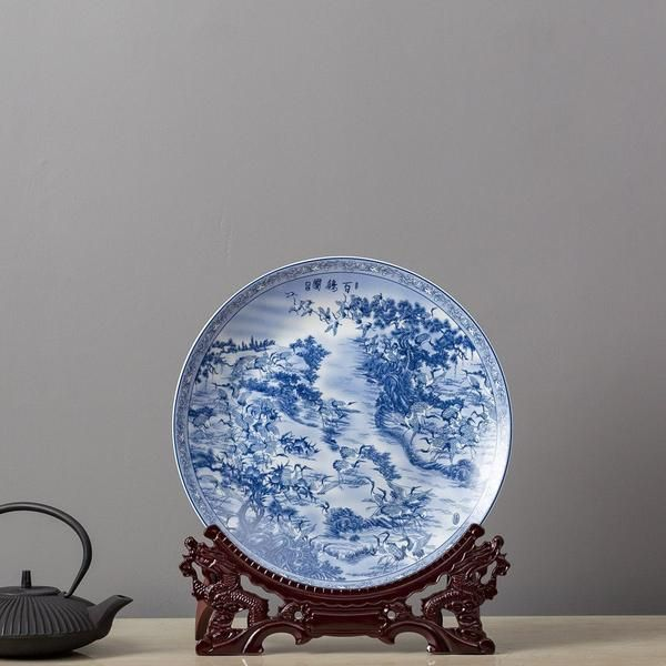 Traditional Ming Blue And White Ceramic Display Plates Can Be Displayed Alone Or In Pairs As A Statement Piece O Plate Display Decorative Plates Blue And White