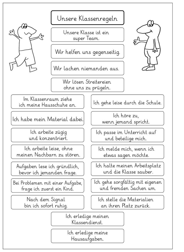 Lernstübchen: die Regeln in unserer Klasse