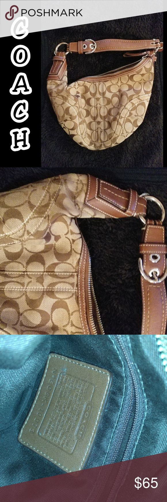 Coach purse Coach purse. One loose string posted in pic above on ring. Message me for more detail or offers. Thank you for looking #coach #coachpurse #coachbag #brown #lightbrown #used #auntethic #pretty Coach Bags
