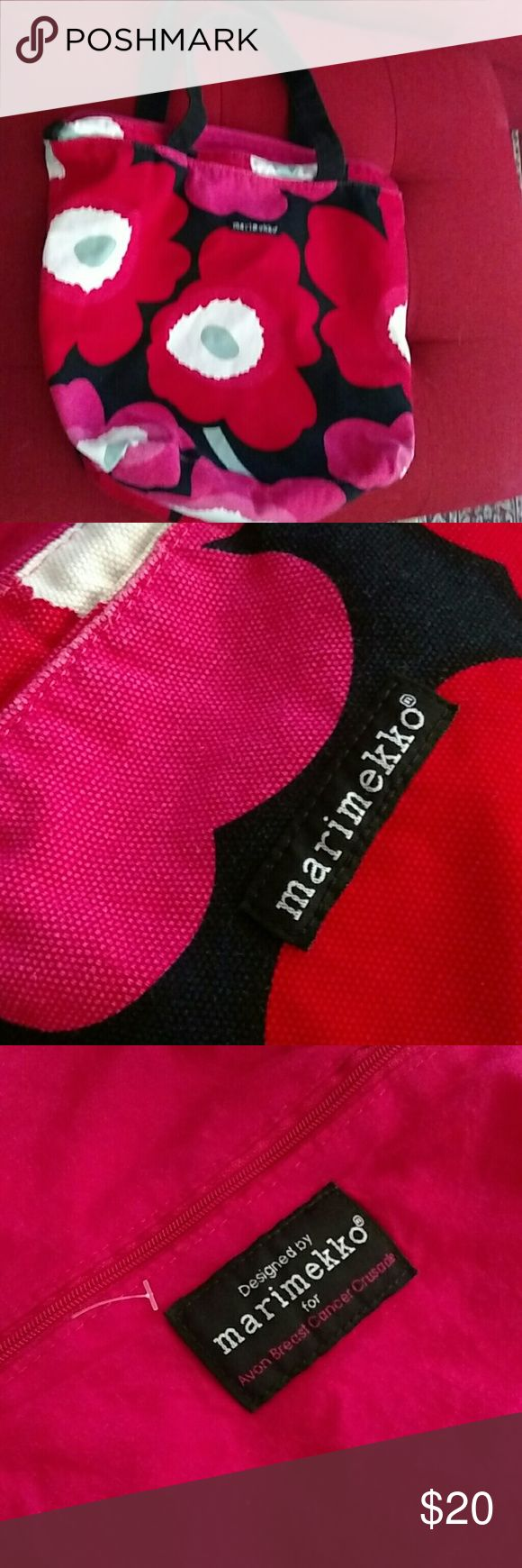 Marimekko avon breast cancer tote floral bag light Lightly used and freshly washed. Very clean Marimekko Bags