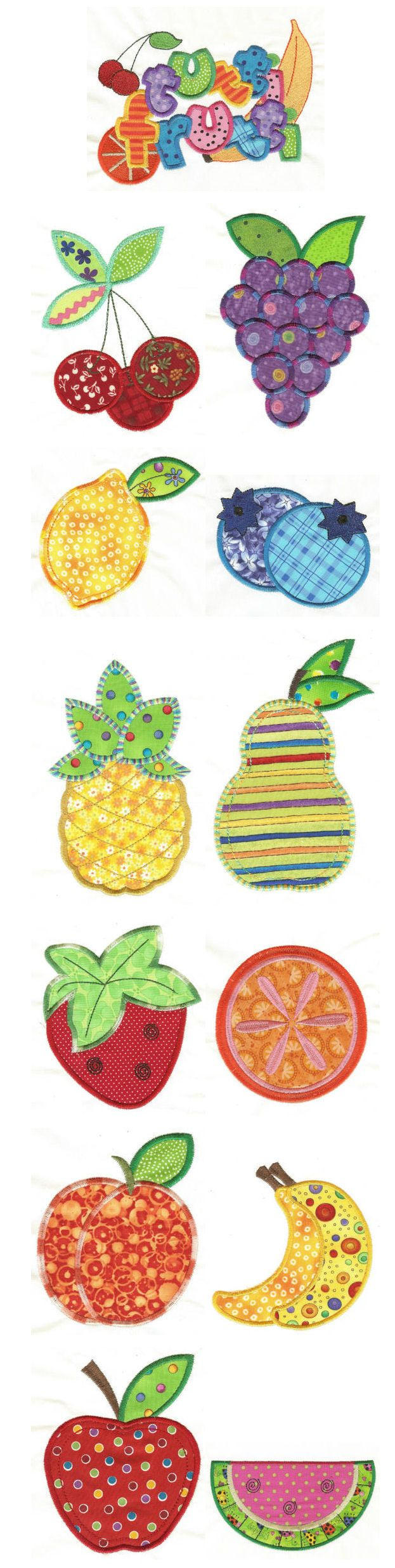 Embroidery | Free Machine Embroidery Designs | Tutti Frutti Applique