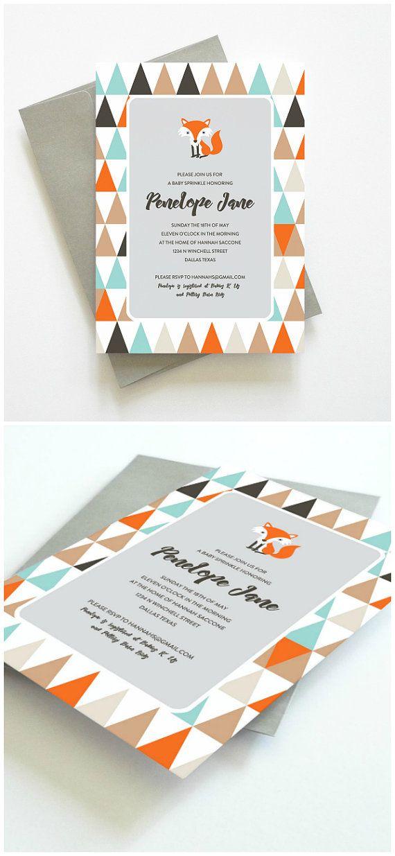 Printable Baby Sprinkle Invitation Unique Baby Sprinkle Invitation Woodland Fox by Oakhouse // Oak House Printable Designs