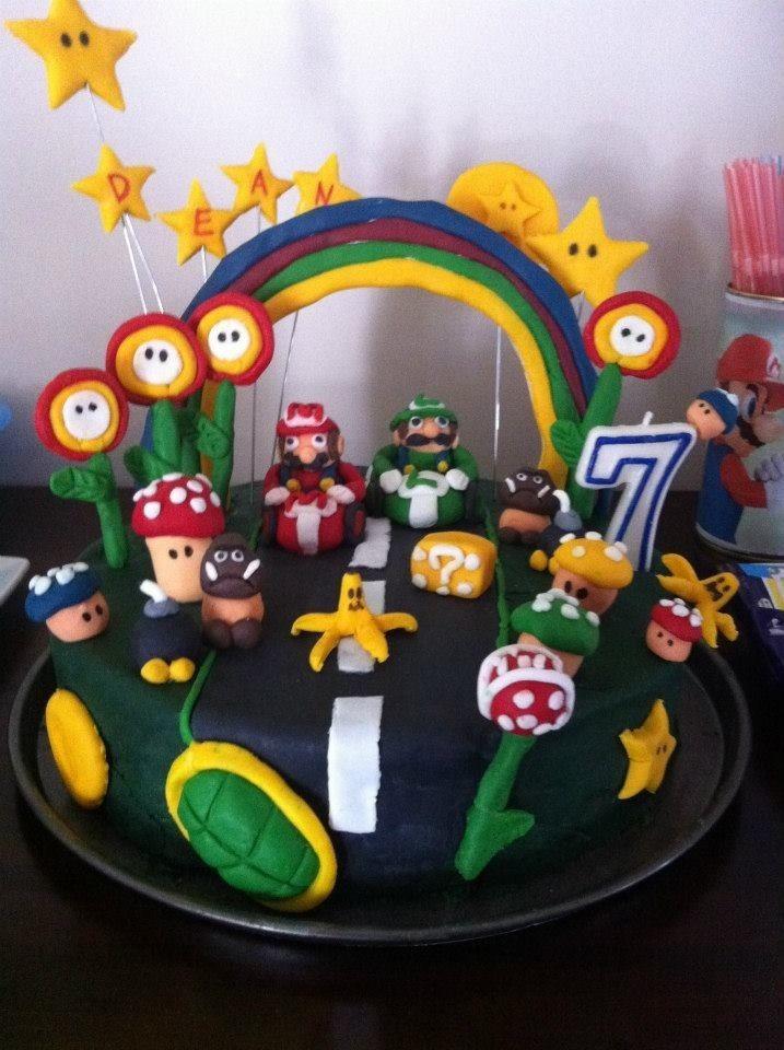 Mario & Luigi Birthday cake for my sons 7th Birthday