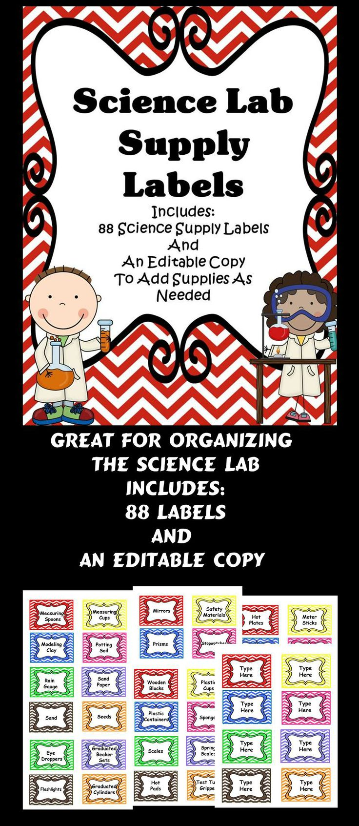 Labels - Science Lab Supplies A Great Organizational Tool For The Science Lab.  Teachers Will Save Time Planning Engaging Lessons With These Labels!