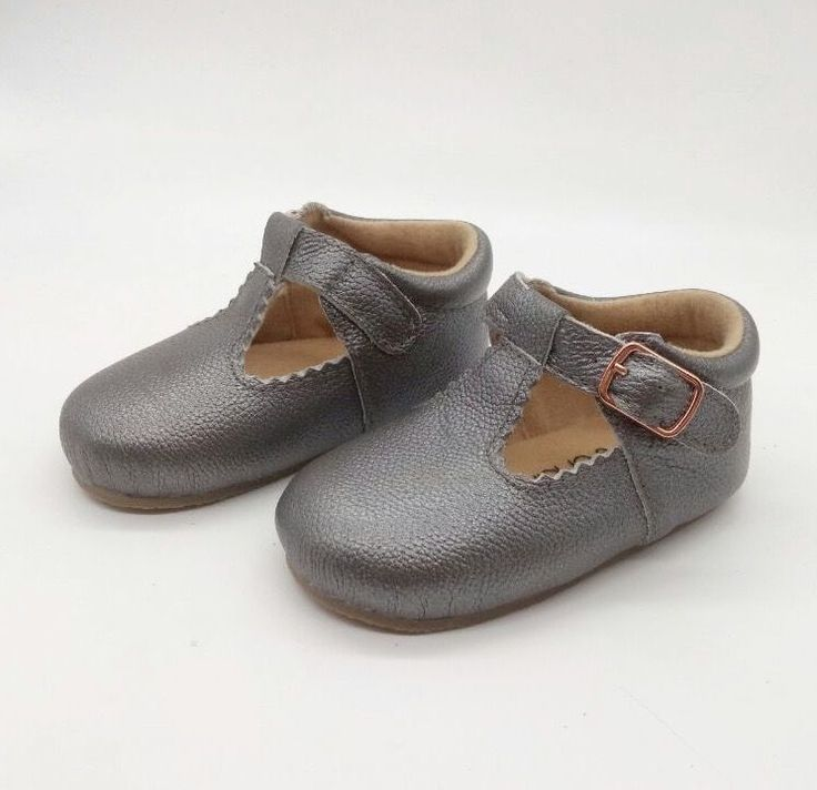 Jagged T-Bars Gunmetal Grey - Leather Baby Shoes, Designed in Australia with our Rose Gold Buckle