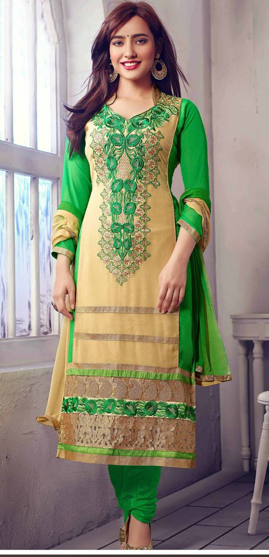 USD 35.36 Neha Sharma Beige Georgette Bollywood Suit 44582