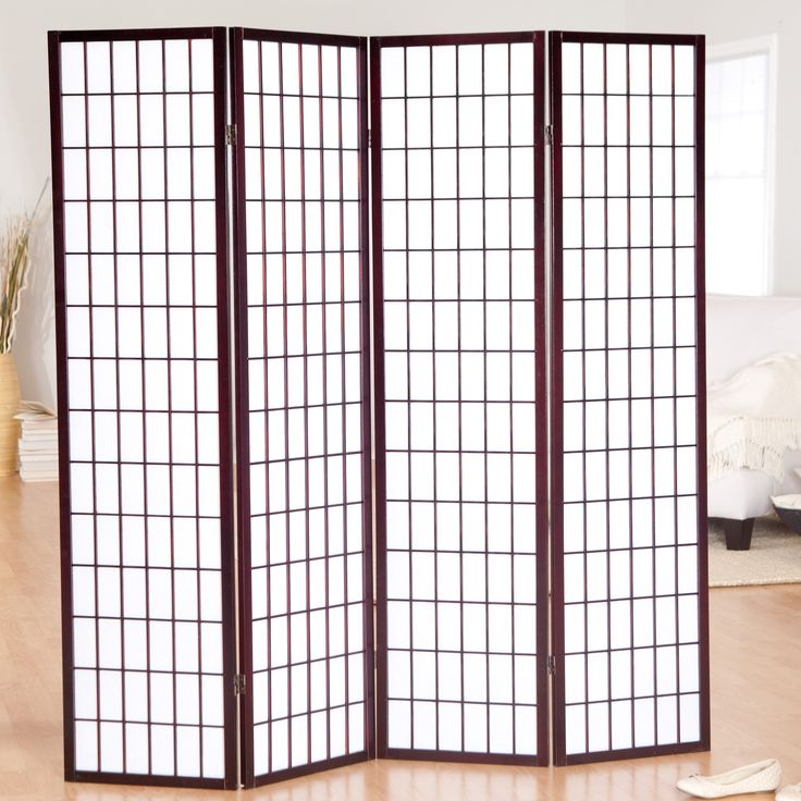 Jakun Rosewood Shoji 4 Panel Room Divider - Take the next step in decorating your home and accent it with the Jakun Shoji Room Divider. The wooden frame on this four-paneled divider makes little...