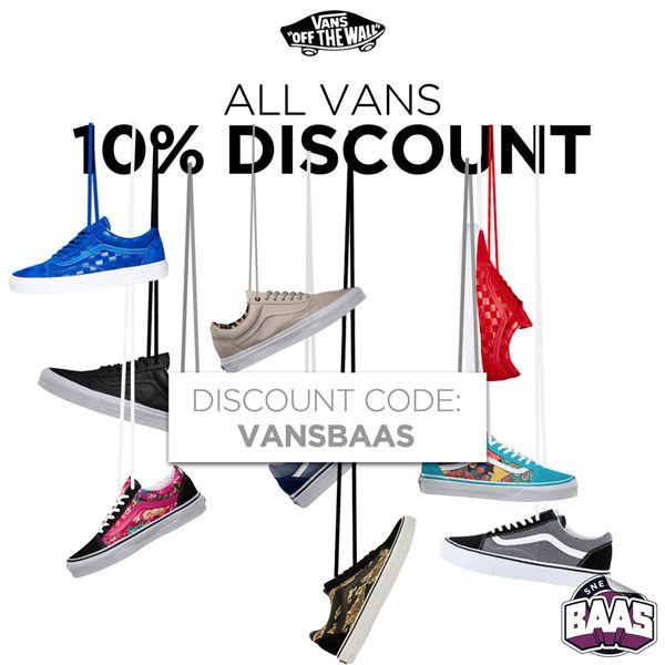 Fresh arrivals Vans daarom nu 10% Discount op alle Vans! Wees er snel bij.  www.sneakerbaas.nl