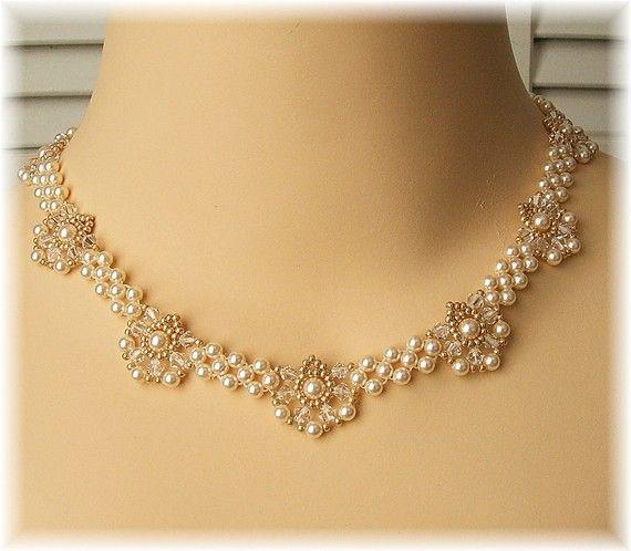 Regal Elegance Woven Bridal Necklace Ivory by BridalDiamantes
