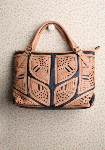 leather cut out bag.