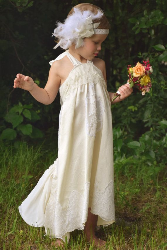 Vintage Style Flower Girl First Communion Dress Lace Satin