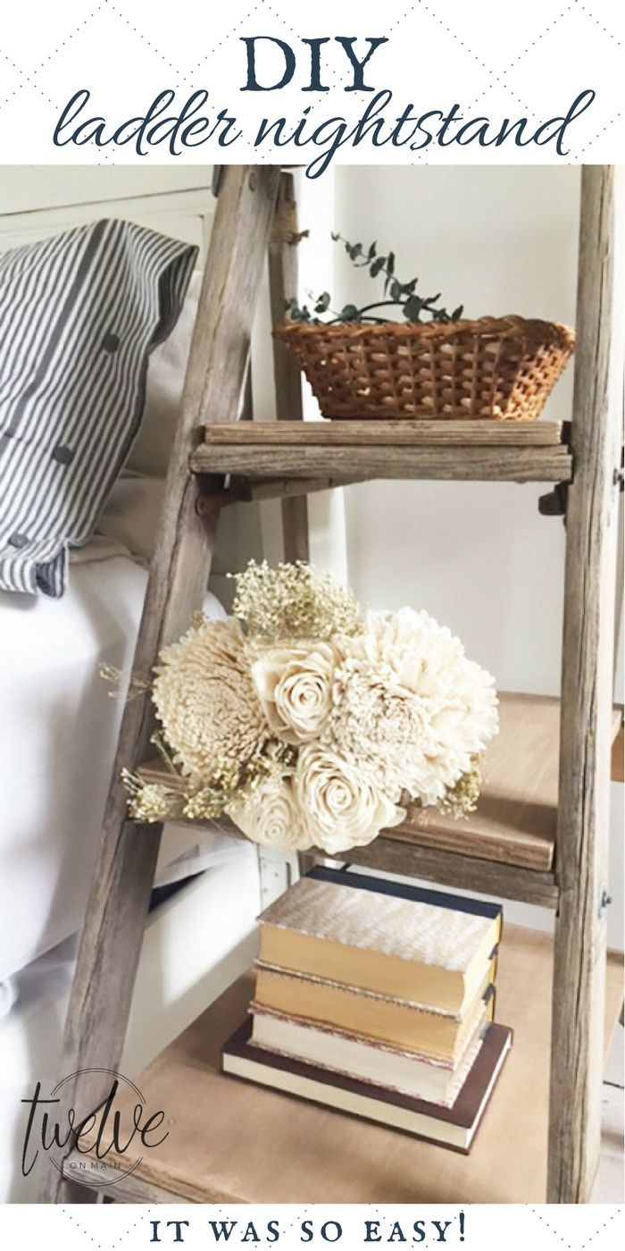DIY ladder nightstand | ladder projects | step ladder nightstand | ladder side table | step ladder side table | repurposed ladder | easy DIY project | farmhouse decor