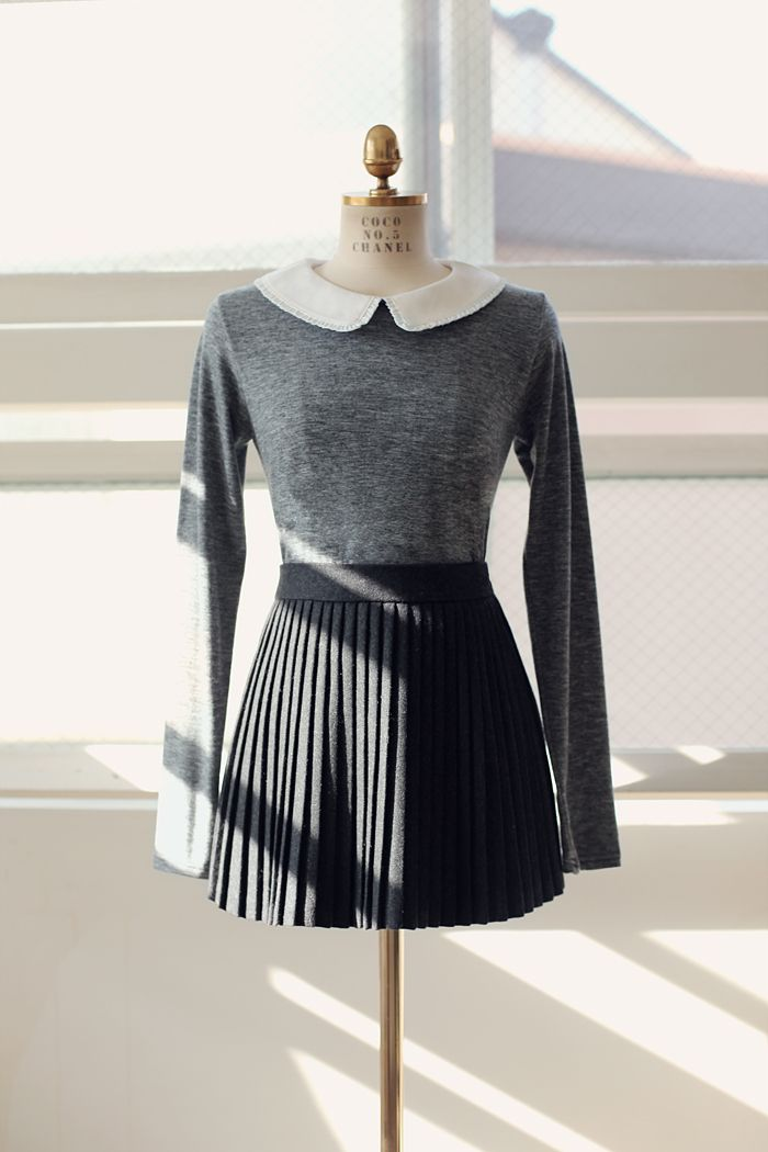 I might be able to do this with my crochet light blue collared shirt, navy pleated skirt, and a thin sweater.
