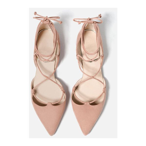 Nude Velvet Lace-up Pointed Shoes ($55) ❤ liked on Polyvore featuring shoes, velvet shoes, pointy shoes, lace up shoes, laced shoes and nude footwear