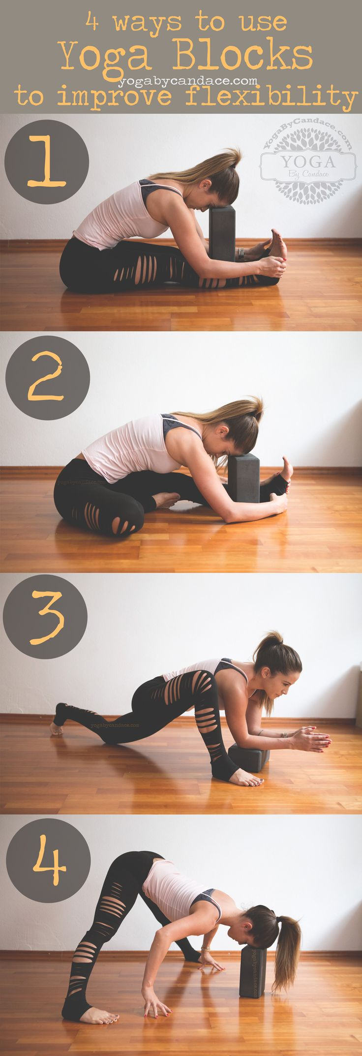 Pin now, practice later! 4 ways to use yoga blocks to improve your flexibility Wearing: Jala pants c/o, f21 tank, Big apple red polish on fingers, you don't know jacques on toes
