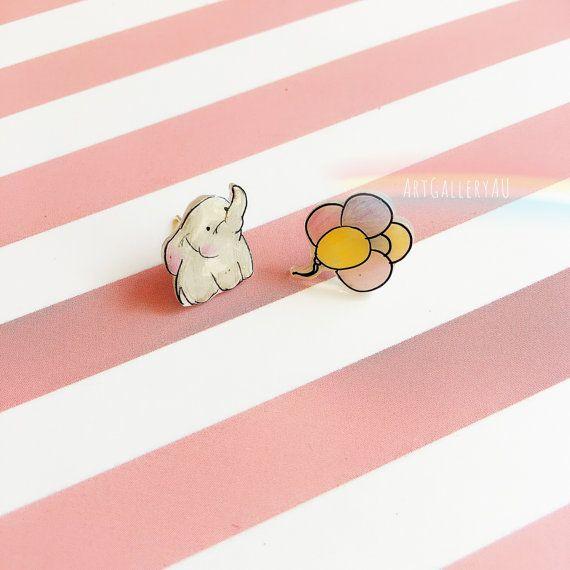 Elephant balloon stud earrings cute kawaii gift Christmas fairy